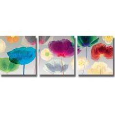 Robert Mertens 'Poppy Panorama' 3-piece Canvas Art Set | Overstock.com Shopping - Top Rated Canvas