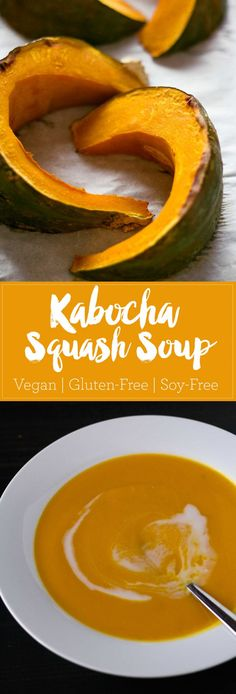 Kabocha Squash Soup - a simple winter soup that will warm you from head to toe! Vegan, gluten-free, soy-free | https://passtheplants.com