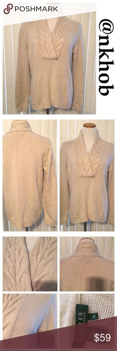 Ralph Lauren V-Neck Sweater Oatmeal colored v-neck sweater.  Cable knit design.  Banded Waist.  EUC Lauren Ralph Lauren Sweaters V-Necks