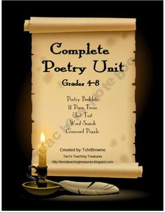 Poetry Unit for Grades 4-8   11 poem forms, unit test, final project, and extra fun activities! $6