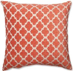 Orange Pattern Throw Pillow | Orange and White Throw Pillow | Bright Kids Lounge Blog Post | FurnishingFrugally.com