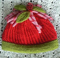 Crochet Christmas Beanie Candy Cane and Mistletoe  Inspiration  $22.00 to purchase from Etsy.