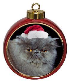 Persian Cat Ceramic Red Drum Christmas Ornament