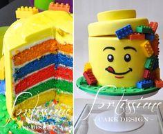 Lego Man Head Rainbow Cake - birthday Cake Ideen - New Ideas Lego Themed Party, Lego Birthday Party, Rainbow Birthday, 6th Birthday Parties, Birthday Cake Girls, Cake Rainbow, Birthday Ideas, Easy Kids Birthday Cakes, Lego Parties