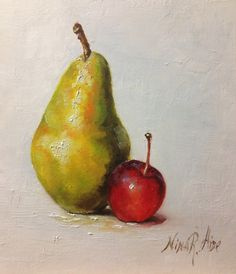 Pear and CrabApple Original Oil painting  by by NinaRAideStudio