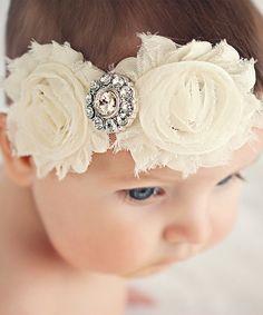 Ivory Shabby Diaper Cover & Headband//