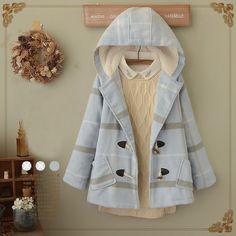 Japanese sweet grid hooded coat
