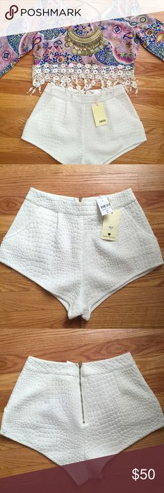 BRAND NEW  LF Highwaisted White Embossed Shorts Brand new with tags - LF Into Fashion With Love - High waisted white embossed shorts with zipper on the back - AUS size 8 is comparable to US small - 26W - 65% Polyester 35% spandex LF Shorts