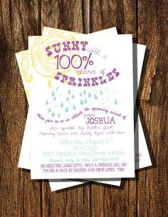 sunny sprinkles baby shower invitation