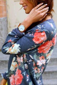 Floral cardigan.