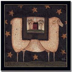 Sheep Star Americana Primitive Folk Art Print Framed by Framed Art by Tilliams