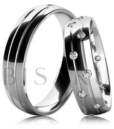 B36 Snubní prsteny z bílého zlata v lesklém provedení se dvěma lesklými drážkami. Dámský prsten zdobený kameny. #bisaku #wedding #rings #engagement #svatba #snubni #prsteny