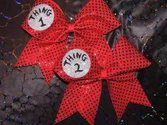 glitter thing 1 thing 2 cheer bow. $24.00, via Etsy. @Kayleigh Wiles we need these!!!!