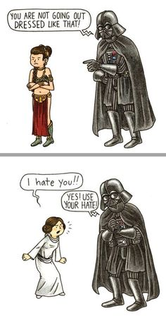 Oh fatherly discipline from the Dark Side's perspective.... - Darth Vader and Daughter