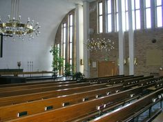 Meilahti church,  Helsinki, built 1954, architect Markus Tavio, light fixtures Paavo Tynell,  church organ Marcussen & sons