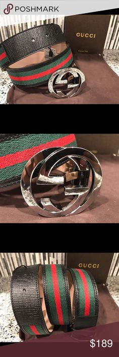 Authentic men Gucci belt black green red - Made in Italy - 100% Authentic - Quality belt made by Gucci - Fast 1-3 day shipping  Sizing has been taken care of so just choose the size you wear in pants! Gucci Accessories Belts