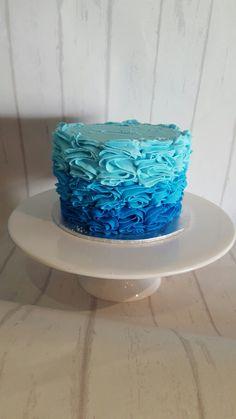 Ombre blue smash cake
