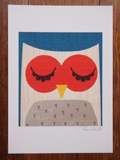 A4 'The Obstinate Owl' retro modern signed by RetroDoodler