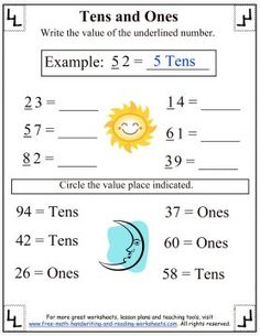 Help your child to understand place values using these fun, printable worksheets covering hundreds, tens, and ones place value. Place Value Worksheets, Reading Worksheets, Printable Worksheets, Place Value With Decimals, Tens And Ones, Free Math, Place Values, Minimalism, Classroom