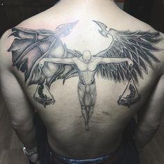 #angeldemontattoo #angeldemonwings #halfangelhalfdemontattoo #balancetattoo #ink #jingstattoo #inked #detailedtattoowork #femaletattooartist #tatted