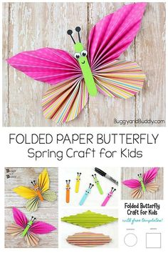 Folded Paper Butterfly Craft for Kids: Easy craft for children of all ages. Great for spring or as an extension when studying the butterfly life cycle! Includes a free printable template. #buggyandbuddy #springcrafts #butterflycraft #butterflycrafts #craftsforkids #kidscrafts #papercrafts