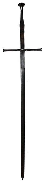 """Longswords - The Longsword is a type of European sword used during the late medieval period, approximately 1350 to 1550 (with early and late use reaching into the 13th and 17th centuries, respectively). Longswords have long cruciform hilts with grips over 10 to 15in length providing room for two hands. Straight double-edged blades are often over 1 m to 1.2 m (40"""" to 48"""") length, and weigh typically between 1.2 and 2.4 kg (2½ to 5 lb)."""