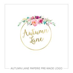 This listing is for a customizable pre-made Gold Foil Circle Logo with Watercolor Flower Burst. Put your company's name on it today!