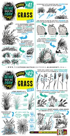 How to draw GRASS tutorial by EtheringtonBrothers on DeviantArt Okay! Today's tutorial looks at How to THINK When you draw GRASS, for use in your environment and background designs, world building, level design etc. And here's some links to TONS MOR. Drawing Lessons, Drawing Techniques, Drawing Tips, Drawing Reference, Pose Reference, Tutorial Draw, Comic Tutorial, Drawing Studies, Art Studies