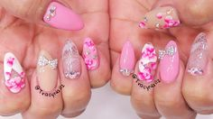 Exotic Ombre Flower & Lace Acrylic Nails