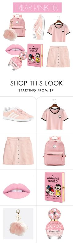 """""""I wear pink for amazing girls and women fighting breast cancer💕"""" by polyvoreoutfits1 ❤ liked on Polyvore featuring adidas Originals, H&M, Olympia Le-Tan, Avenue, Marc Jacobs and IWearPinkFor"""