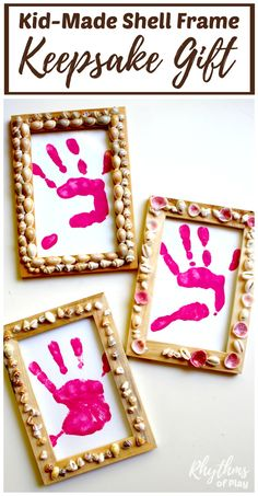Homemade gifts that kids can make are always a hit with friends and family. Children from toddlers to teens can make these beautiful DIY shell frame keepsake gifts for Christmas, Mother's Day, Father's Day, or any other occasion! The frames can be filled with handprints, footprints, photo's or artwork to complete this unique nature craft gift idea.