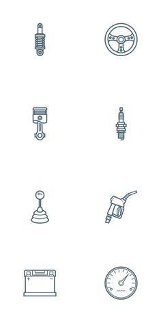 Free Car Parts Outline Icon Set - Oxygenna Web Design Finger Tattoos, Car Tattoos, Neue Tattoos, Tatoos, Web Design Agency, Icon Design, Logo Design, Piston Tattoo, Creation Web