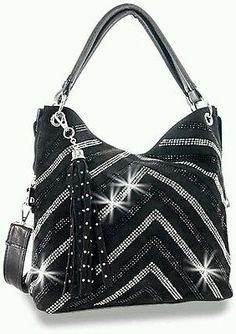 Black Rhinestone Crystal Bling Chevron V Handbag Tote Hobo Shoulder Bag