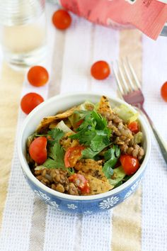 Crunchy, flavorful, spicy, and filling lentil taco salad.