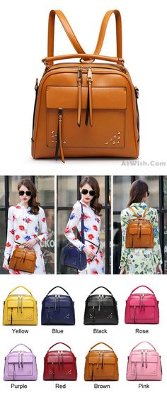 A magic bag ! Summer Multifunction Rivet College Backpack Handbag #bag #Handbag #college #rivet #backpack #summer