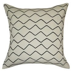 Zig Zag Embroidered Pillow White/Black - Threshold™ : Target