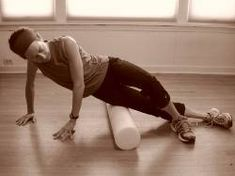 IT band exercise with foam roller.