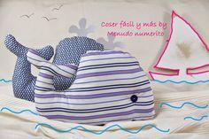 """El blog de """"Coser fácil y más by Menudo numerito"""": Cómo hacer una ballena de trapo y usar como cojín o muñeco."""