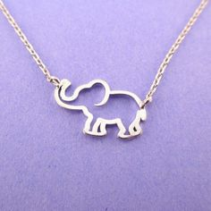 0ee44503dab8 Minimal Baby Elephant Outline Shaped Pendant Necklace in Silver