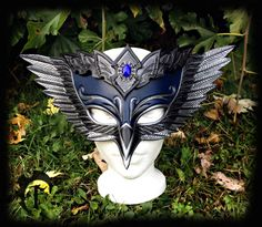 Blue Jay Ball Leather Mask, masquerade, silver, feather, larp larping, costume, armor, halloween