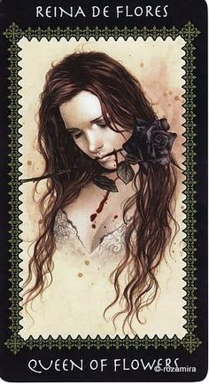 Queen of Flowers (Victoria Frances Tarot card) Gothic Angel, Gothic Art, Tarot Card Decks, Tarot Cards, Le Tarot, France Art, Art Pictures, Art Pics, Fantasy Artwork