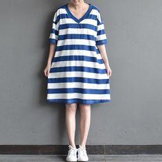 Women summer short sleeve stripe loose cotton dress