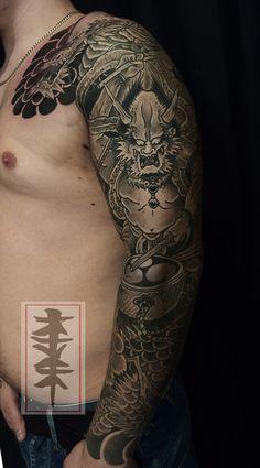 Raijin, japanese thunder god tattoo by Jarno Kandahar   Tatuata