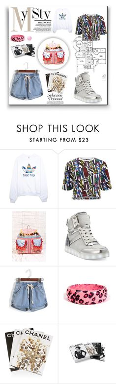"""""""Sem título #9912"""" by nathsouzaz ❤ liked on Polyvore featuring adidas, House of Holland, Urban Outfitters, Bebe, Assouline Publishing and Chanel"""