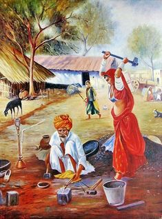landscape painting by indian village scene Art Village, Village Scene Drawing, Indian Village, Art Painting Images, Indian Art Paintings, Watercolor Paintings, Sexy Painting, Painting Tips, Watercolours
