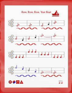 Row Your boat for music education. Colored notation represents the harmony.  http://paintwithpiano.com/paint-with-piano-resources-red-row-row-row-your-boat.html