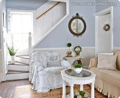 The walls are painted with Martha Stewart paint in Lacecap, which draws its hue from a hydrangea.
