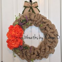 Burlap wreath / spring wreath / door decor / by ReneeDaviesCrafts