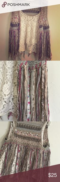 Free people fringe bohemian vest & lace tank This vest from Free People and Lacey vintage looking tank make the perfect combination! Gorgeous fringe on vest.. Never worn.. Size xs but can fit smalls and mediums too imo :) Free People Jackets & Coats Vests