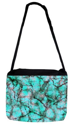 Rosie Parker Inc. TM Medium Sized Messenger Bag 11.75' x 15.5' and 5' x 8' Pencil Case SET - Turquoise Marbelized Print * Continue to the product at the image link. (This is an Amazon Affiliate link and I receive a commission for the sales)